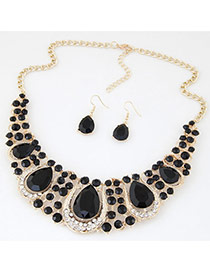 Luxury Black Waterdrop Diamond Decorated Hollow Out Jewelry Sets