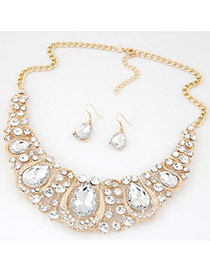 Luxury White Waterdrop Diamond Decorated Hollow Out Jewelry Sets