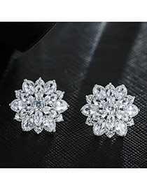 Sweet Silver Color Hollow Out Flower Shape Decorated Simple Earring