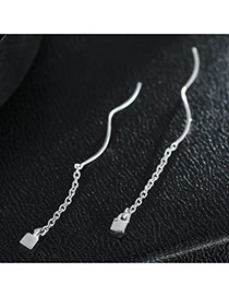 Sweet Silver Color Metal Square Pendant Decorated Simple Earring