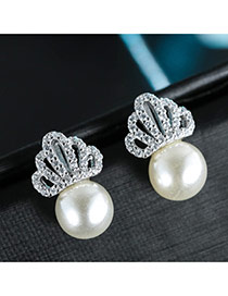 Sweet Silver Color Hollow Out Crown Shape Decorated Pearl Earring