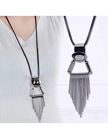 Elegant Silver Gray Metal Tassel Pendant Decorated Simpe Necklace