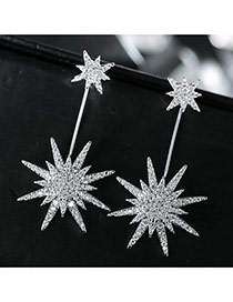 Sweet Silver Color Diamond Decorated Sunflower Shape Design Simple Earrings