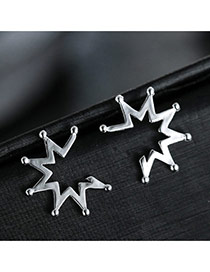 Sweet Silver Color Pure Color Decorated Rays?of?light Shape Design Earrings