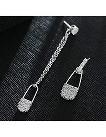 Sweet Silver Color Bags Shape Pendant Decorated Pure Color Asymmetric Earrings