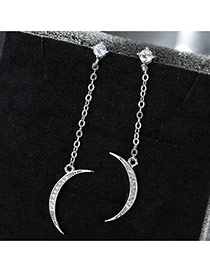Sweet Silver Color Moon Pendant Decorated Tassel Design Simple Earrings