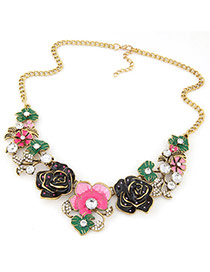 Fashion Pink Round Shape Diamond Decorated Flower Shape Necklace
