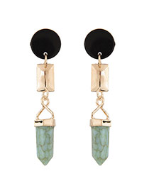 Elegant Light Green Gemstone Decorated Bullet Shape Simple Earrings
