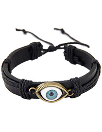 Vintage Black Eye Shape Decorated Hand-woven Simple Leather Bracelet