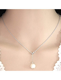 Sweet Silver Color Pearl Pendant Decorated Simple Short Necklace