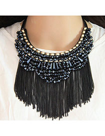 Trendy Gun Black Long Tassel Pendant Decorated Color Matching Collar Necklace