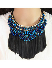 Trendy Blue Long Tassel Pendant Decorated Color Matching Collar Necklace