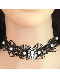 Sweet Black Pearls&diamond Decorated Hollow Out Design Simple Choker