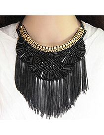 Fashion Black Matal Tassel Decorated Short Chain Necklace