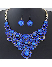 Elegant Blue Round Shape Diamond Decorated Simple Short Chain Jewelry Sets