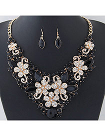 Fashion Black Flower Shape Decorated Short Chian Jewelry Sets