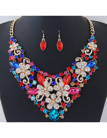 Fashion Multi-color Flower Shape Decorated Short Chain Jewelry Sets