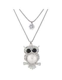 Fashion Silver Color Owl Shape Pendant Decorated Simple Double Layer Necklace