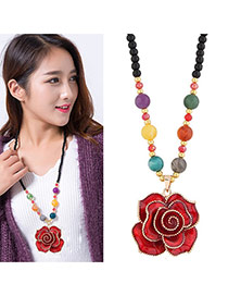 Fashion Red Rose Shape Pandant Decorated Simple Long Chain Sweater Necklace