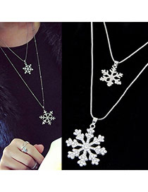 Elegant Silver Color Snowflower Pendant Decorated Double Layer Necklace