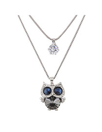 Sweet Blue Diamond&owl Shane Pendant Decorated Double Layer Necklace