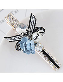 Cute Sky Blue Flower&pearl Shape Decorated Simple Clip