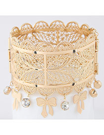 Bohemia Gold Color Bowknot&diamond Tassel Decorated Hollow Out Flower Bracelet