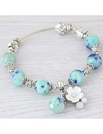 Sweet Light Blue Flower&pearl Shape Decorated Pure Color Bracelet