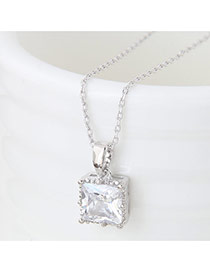 Sweet Silver Color Square Shape Diamond Pendant Decorated Pure Color Necklace
