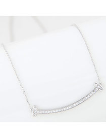 Sweet Silver Color Diamond Decorated Curve Shape Pure Color Necklace
