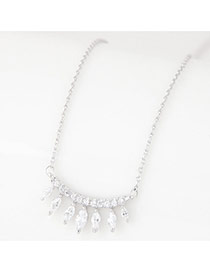 Sweet Silver Color Oval Shape Pendant Decorated Pure Color Necklace