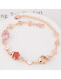 Fashion Pink+orange Diamond&hollow Out Flower Shape Decorated Simple Bracelet
