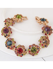 Fashion Multi-color Round Shape Diamond Decorated Flower Shape Design Bracelet