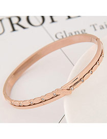 Fashion Gold Color Diamond Decorated Pure Color Design Simple Bracelet