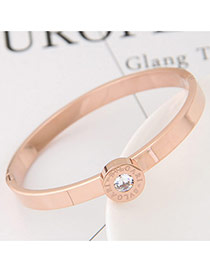Fashion White+gold Color Round Shape Diamond Decorated Color Matching Bracelet