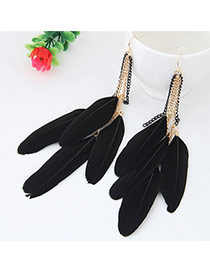 Sweet Black Feather Pendant Decorated Tassel Earring
