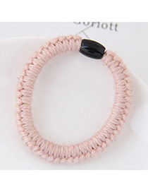 Fashion Pink Pure Color Decorated Weaving Design Simple Hair Band