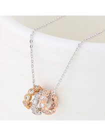 Elegant Multi-color Three Round Shape Pendants Decorated Simple Long Chain Necklace