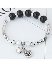 Bohemia Black Metal Rose Pendant Decorated Simple Bracelet