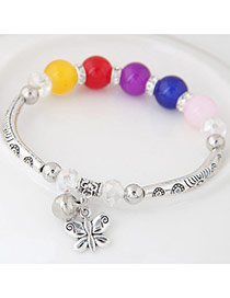 Bohemia Multi-color Butterfly Pendant Decoarated Simple Bracelet