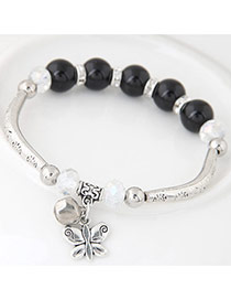 Bohemia Black Butterfly Pendant Decoarated Simple Bracelet