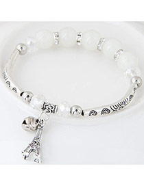 Bohemia White Butterfly Pendant Decoarated Simple Bracelet