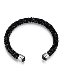 Personality Black Metal Round Decorated Pure Color Simple Bracelet