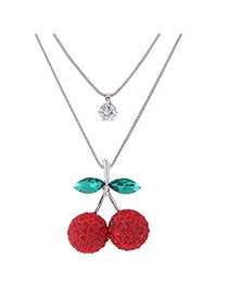 Sweet Red Cherry Shape Pendant Decorated Double Layer Necklace