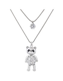 Sweet Silver Color Bear Shape Pendant Decorated Double Layer Necklace