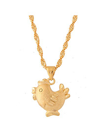 Sweet Gold Color Cock Shape Pendant Decorated Short Chain Necklace