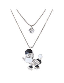 Sweet Silver Color Dog Shape Pendant Decorated Double Layer Necklace