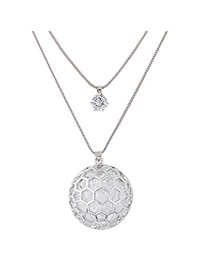 Sweet Silver Color Round Ball Shape Pendant Decorated Double Layer Necklace