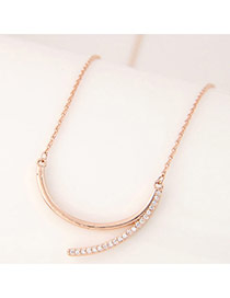 Sweet Rose Gold Irregular Arc-shaped Pendant Decorated Simple Necklace