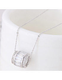 Sweet Silver Color Cylindrical Pendant Decorated Simple Necklace